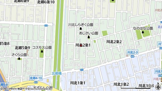 〒003-0852 北海道札幌市白石区川北二条の地図