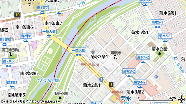 〒003-0803 北海道札幌市白石区菊水三条の地図