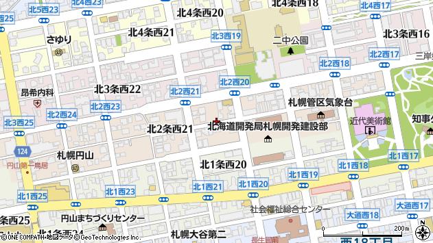 〒064-0822 北海道札幌市中央区北二条西22丁目の地図