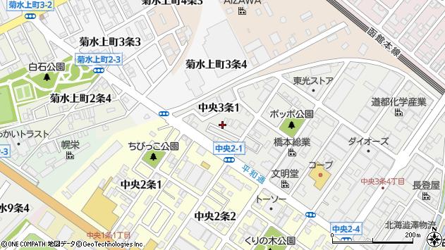 〒003-0013 北海道札幌市白石区中央三条の地図
