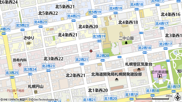 〒064-0823 北海道札幌市中央区北三条西27丁目の地図