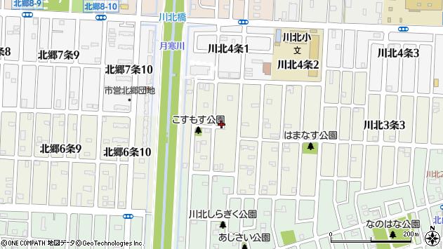 〒003-0853 北海道札幌市白石区川北三条の地図