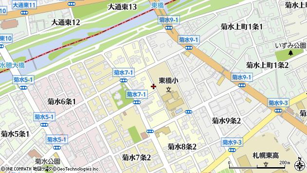 〒003-0808 北海道札幌市白石区菊水八条の地図