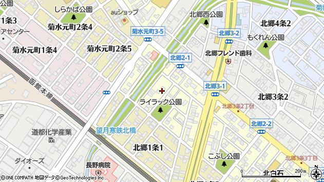 〒003-0832 北海道札幌市白石区北郷二条の地図
