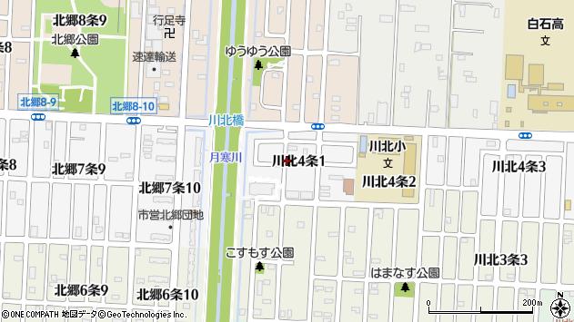 〒003-0854 北海道札幌市白石区川北四条の地図