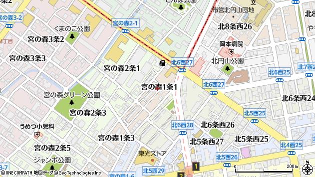 〒064-0951 北海道札幌市中央区宮の森一条の地図