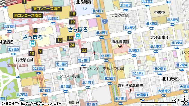 〒060-0003 北海道札幌市中央区北三条西14丁目の地図