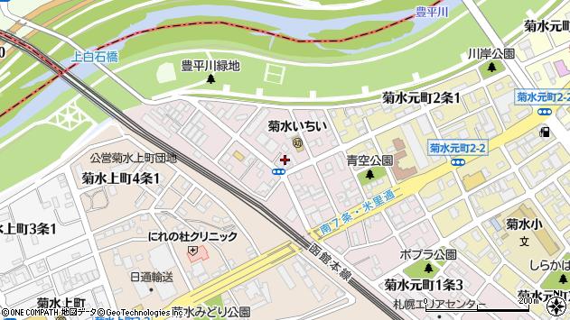 〒003-0821 北海道札幌市白石区菊水元町一条の地図