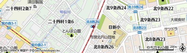 二十四軒1‐6周辺の地図