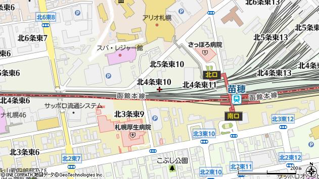 〒065-0004 北海道札幌市東区北四条東15丁目の地図