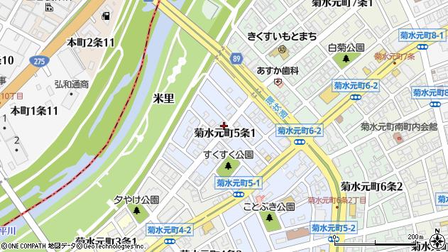 〒003-0825 北海道札幌市白石区菊水元町五条の地図