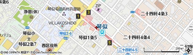 琴似1‐4周辺の地図
