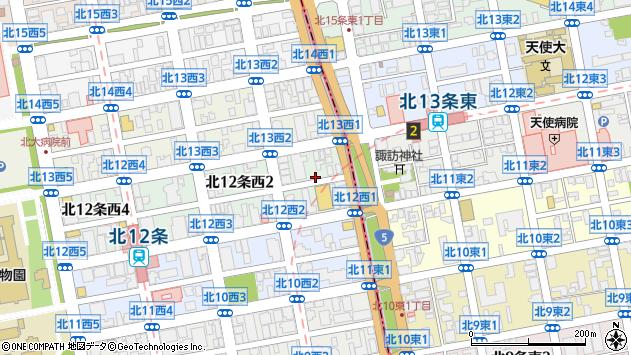 〒001-0012 北海道札幌市北区北十二条西2丁目の地図