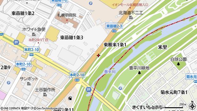 〒007-0821 北海道札幌市東区東雁来一条の地図