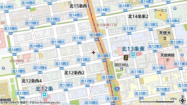 〒001-0013 北海道札幌市北区北十三条西2丁目の地図