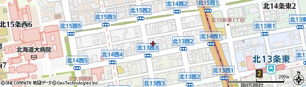 北海道大学霜星寮周辺の地図