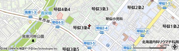 北海道札幌市西区琴似3条周辺の地図