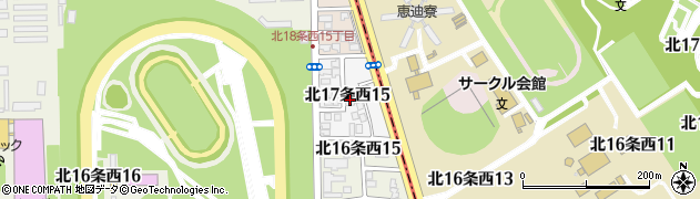 北海道札幌市中央区北17条西周辺の地図