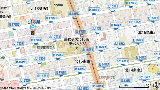 〒001-0016 北海道札幌市北区北十六条西4丁目の地図