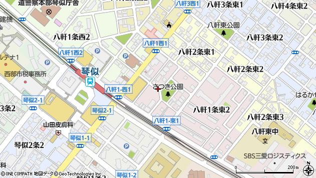 〒063-0861 北海道札幌市西区八軒一条東の地図