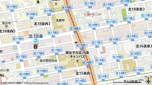 〒001-0017 北海道札幌市北区北十七条西4丁目の地図