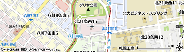 北海道札幌市中央区北21条西周辺の地図