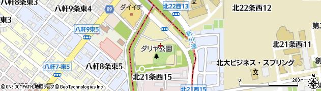北海道札幌市中央区北22条西周辺の地図