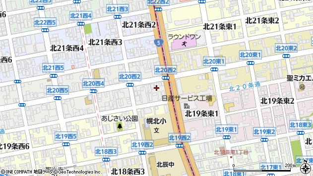 〒001-0020 北海道札幌市北区北二十条西2丁目の地図