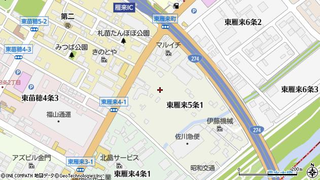 〒007-0825 北海道札幌市東区東雁来五条の地図