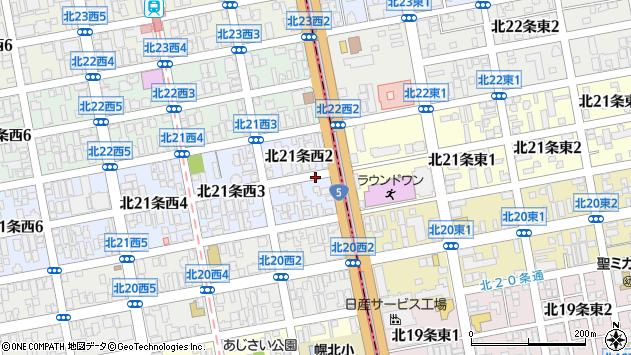 〒001-0021 北海道札幌市北区北二十一条西の地図