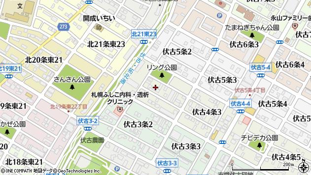 〒007-0864 北海道札幌市東区伏古四条の地図