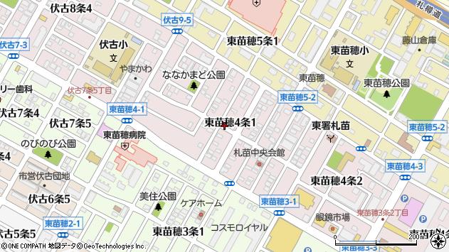 〒007-0804 北海道札幌市東区東苗穂四条の地図