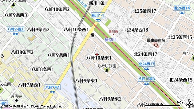 〒063-0870 北海道札幌市西区八軒十条東の地図