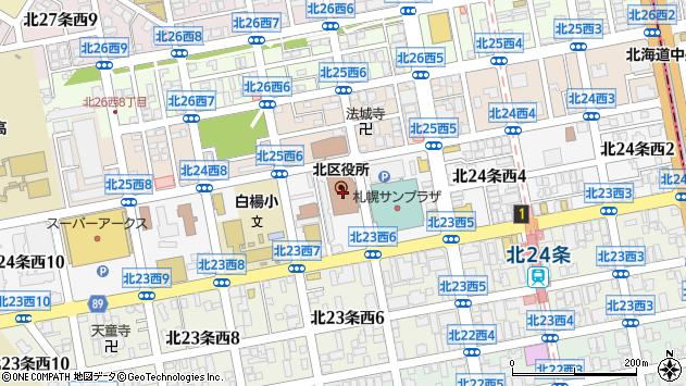 〒001-0000 北海道札幌市北区(以下に掲載がない場合)の地図