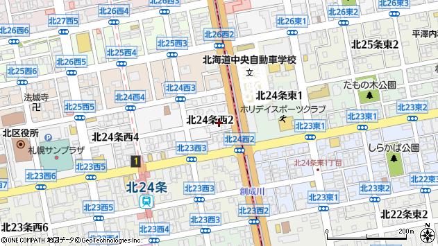 〒001-0024 北海道札幌市北区北二十四条西の地図