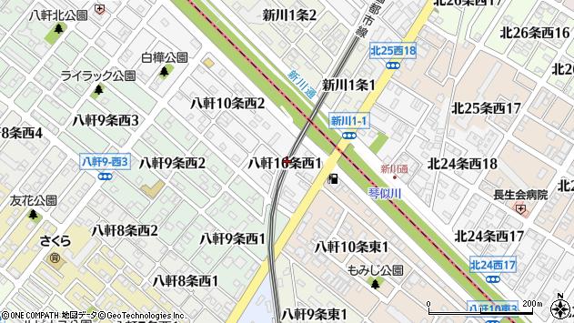 〒063-0850 北海道札幌市西区八軒十条西の地図
