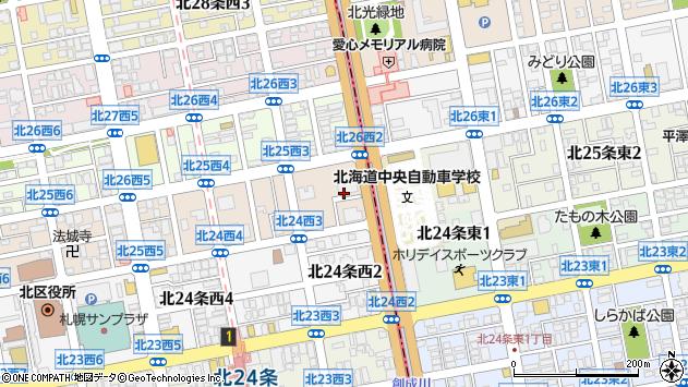 〒001-0025 北海道札幌市北区北二十五条西の地図