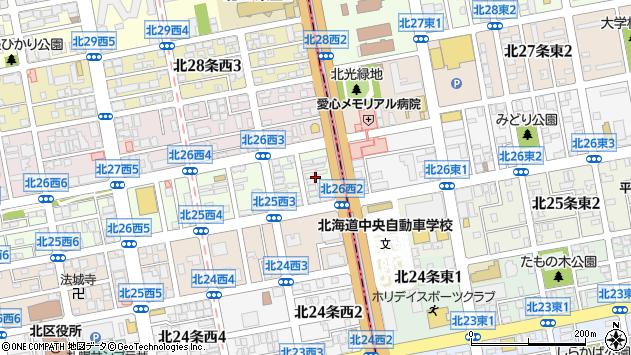 〒001-0026 北海道札幌市北区北二十六条西の地図