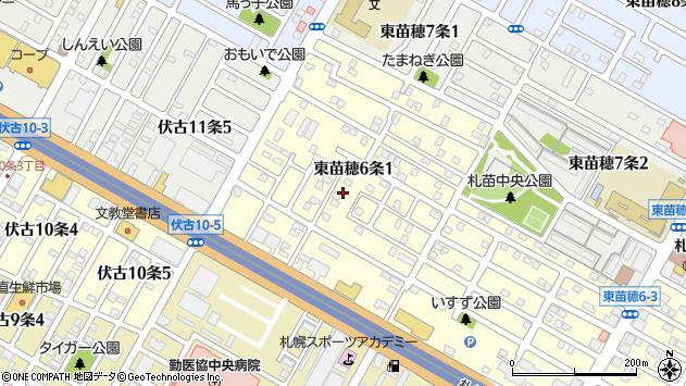 〒007-0806 北海道札幌市東区東苗穂六条の地図