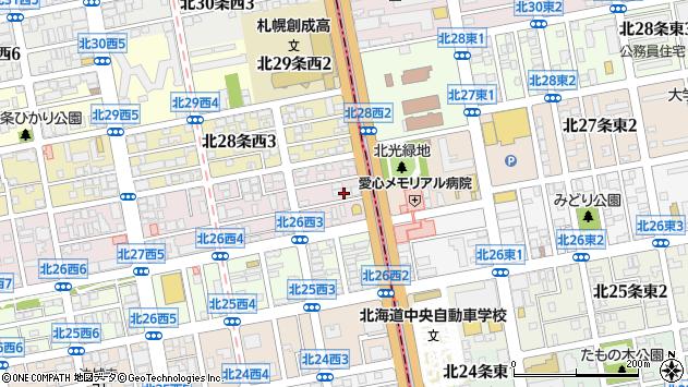 〒001-0027 北海道札幌市北区北二十七条西の地図
