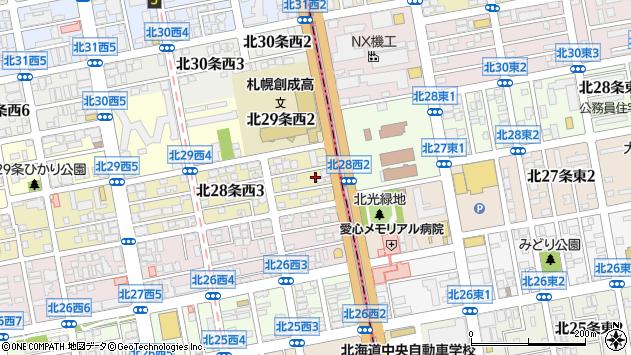 〒001-0028 北海道札幌市北区北二十八条西の地図