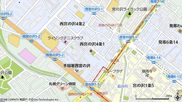 〒006-0004 北海道札幌市手稲区西宮の沢四条の地図