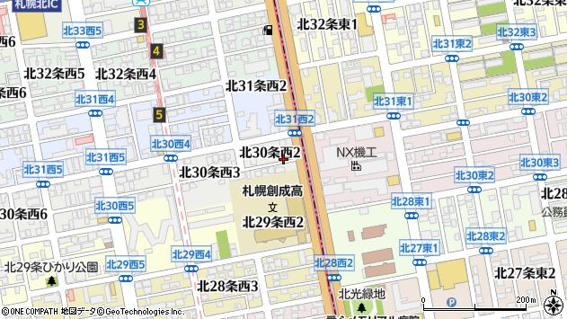 〒001-0030 北海道札幌市北区北三十条西の地図