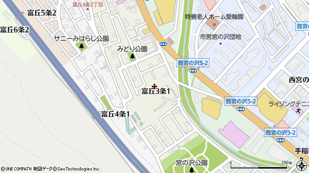 〒006-0013 北海道札幌市手稲区富丘三条の地図