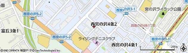 北海道札幌市手稲区西宮の沢4条周辺の地図