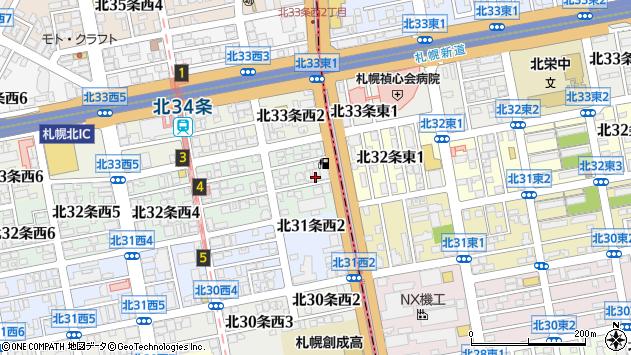 〒001-0032 北海道札幌市北区北三十二条西の地図