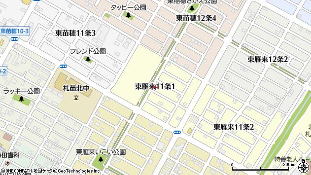 〒007-0031 北海道札幌市東区東雁来十一条の地図