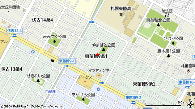 〒007-0809 北海道札幌市東区東苗穂九条の地図
