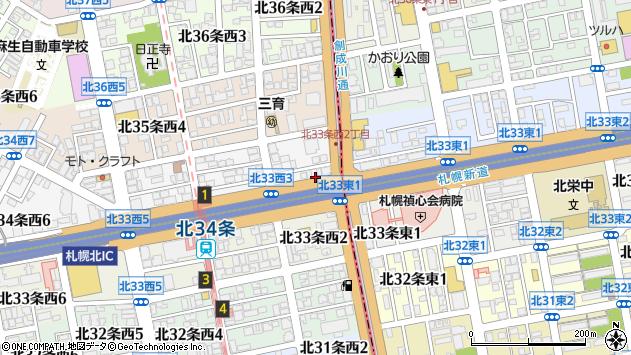 〒001-0034 北海道札幌市北区北三十四条西の地図