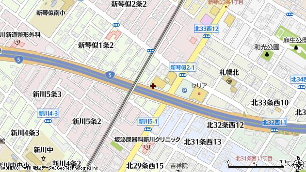 〒001-0901 北海道札幌市北区新琴似一条の地図